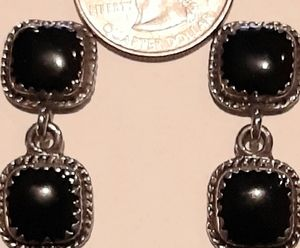 Vintage Black Jet silver pierced dangle earrings